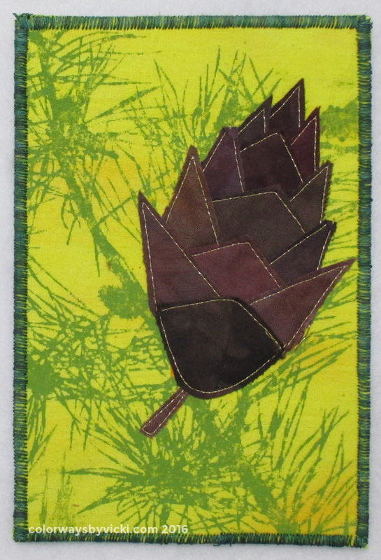 pine cone autumn fabric postcard