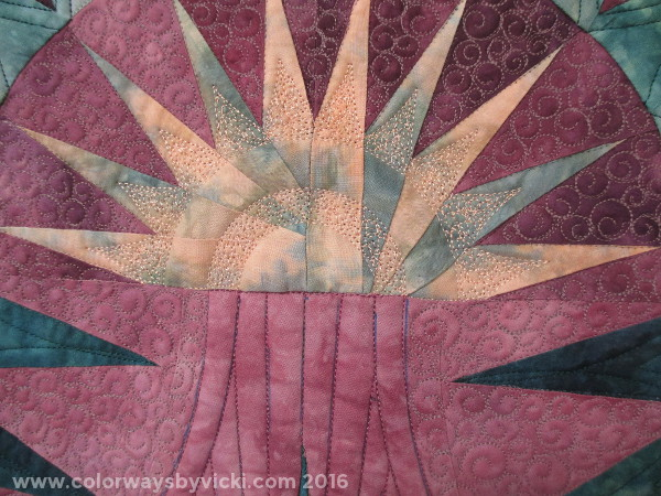 longarm quilting on hand dyed fabric