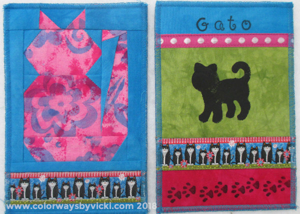 cat fabric postcards