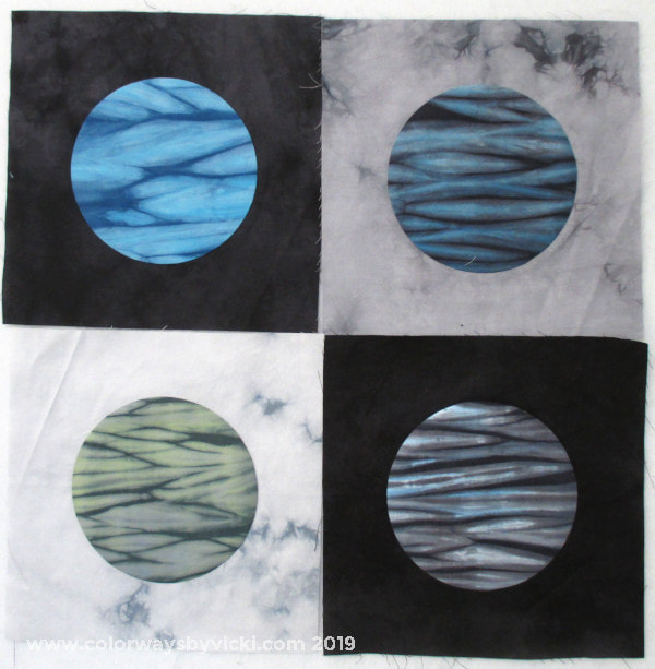 shibori moon hand dyed fabric