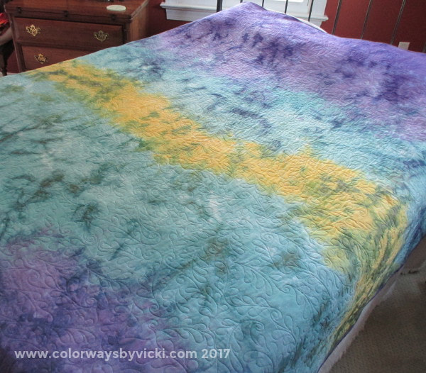 hand dyed quilt back